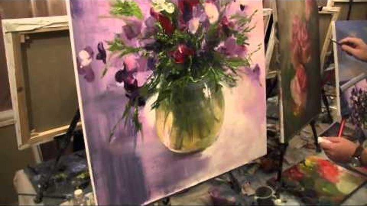 Рисуем цветы маслом мастер класс видео