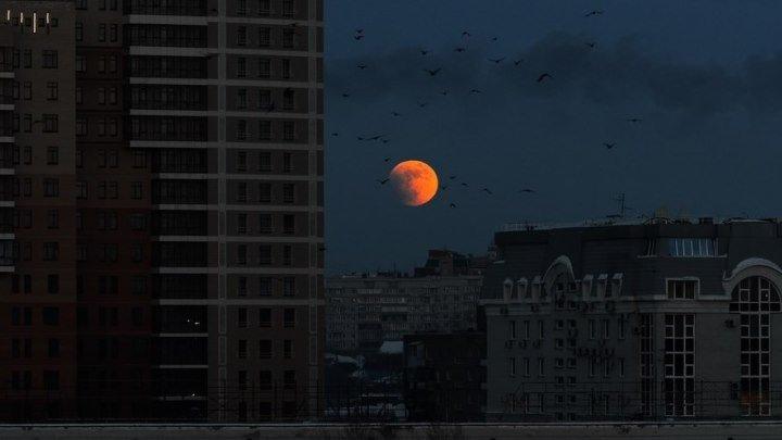#Омск - Красивое лунное затмение над Россией #ШколаСтримеровФинал