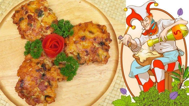 Куриные рубленые котлеты с сыром, беконом, чоризо, кукурузой