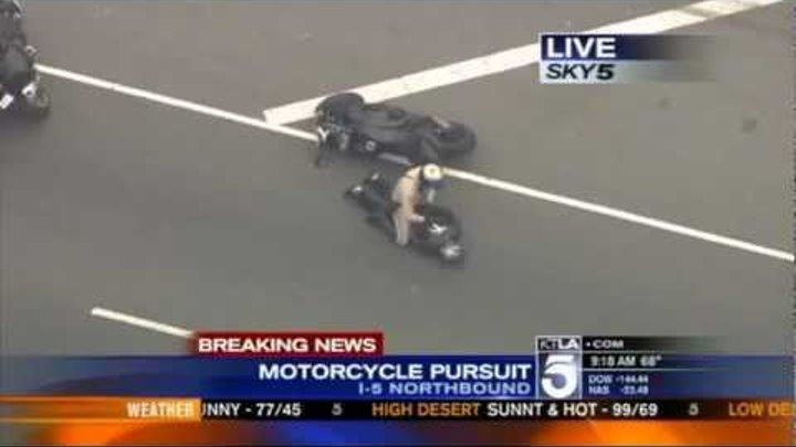 Dramatic End to High Speed Police Motorcycle Chase on California Freeway