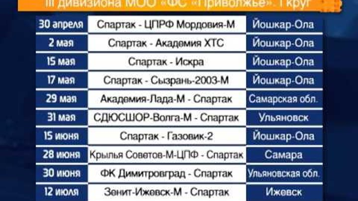 Расписание матчей ФК «Спартак» (Йошкар-Ола) в сезоне 2016 года