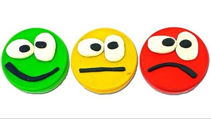 Открываем сюрпризы смайлики. Игрушки из киндер сюрпризов. Учим цвета с светофором. Видео для детей.