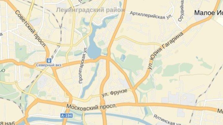 Со стороны посёлка Васильково по улице ГАГАРИНА и улице ФРУНЗЕ