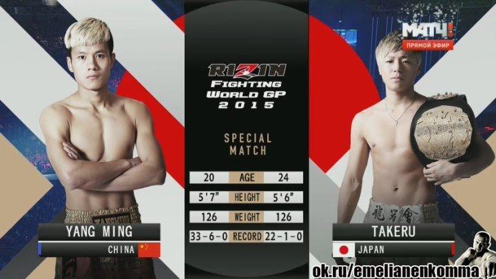 Янг Минг vs. Такеру. К-1. Rizin FF 2. 31 декабря 2015.