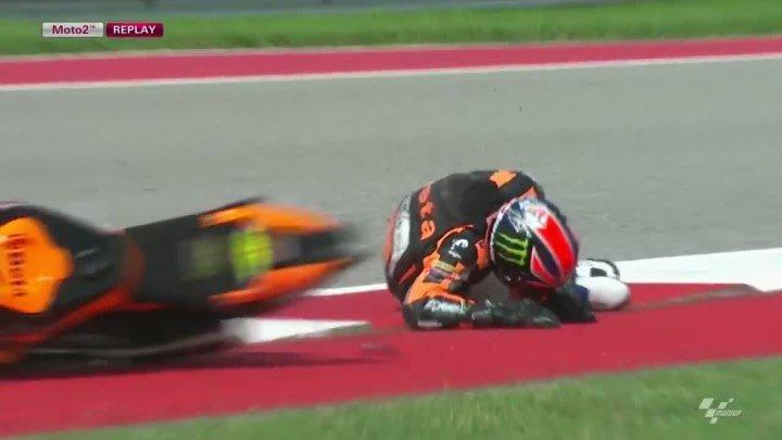 Жёсткое падение пилота на MotoGP
