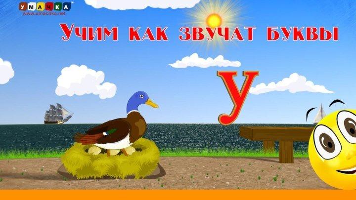 РУССКИЙ АЛФАВИТ. БУКВА У. Учим с Кругляшиком Буквы и Звуки .