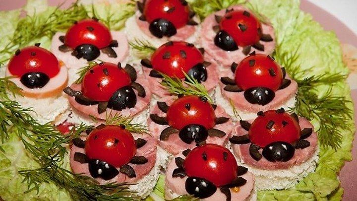 Бутерброды для детей 'Божьи коровки'