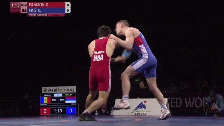 FELICITARI MOLDOVA!!! Prima medalie pentru echipa nationala de lupte a Moldovei la Campionatul European din Letonia: Donior Islamov 59 kg a luat bronzul la luptele greco-romane
