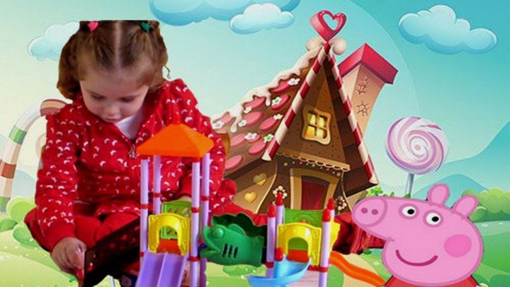 Свинка Пеппа на детской площадке.Игровой набор.Peppa Pig on the playground.