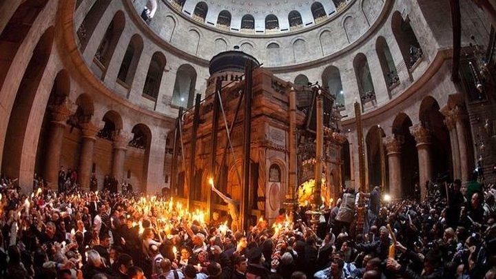 Схождение Благодатного огня. Иерусалим 30.04.2016г