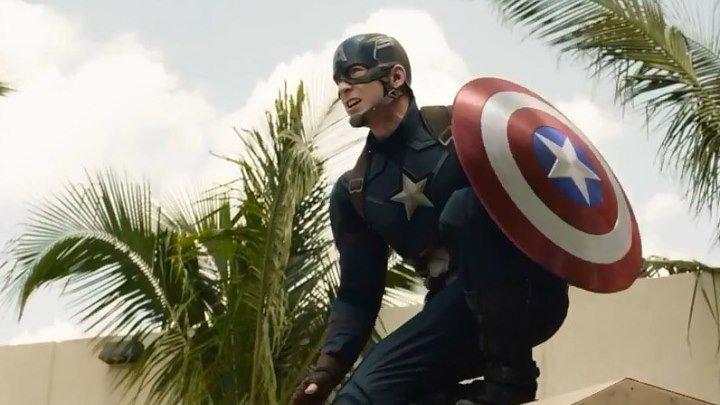 """Классная экшен-сцена из нового фильма MARVEL """"Первый Мститель: Противостояние""""! Уже в кино."""