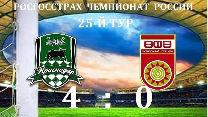 Обзор матча- Футбол. РФПЛ. 25-й тур. Краснодар - Уфа 4-0