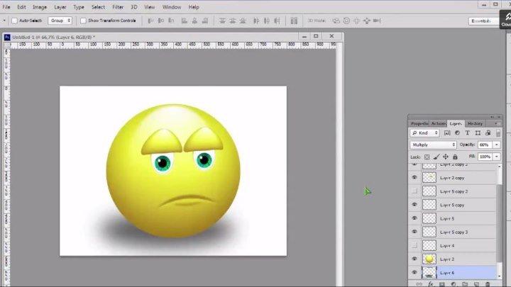 Урок по PhotoShop - рисуем обиженный смайлик