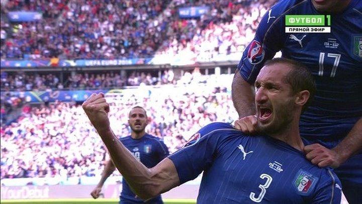 ГОООООООООООООООООООЛ!!!!!!! Кьеллинииииии!!!!!! Италия 1:0 Испания. ЕВРО-2016