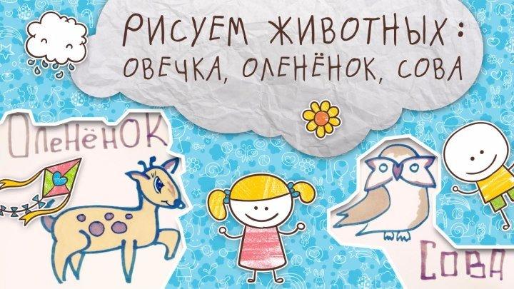 Рисуем животных: овечка, оленёнок, сова [Супермамы]