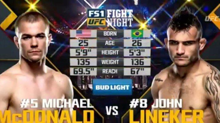 Запись боя Майкл Макдональд и Джон Линекер [UFC Fight Night 91]