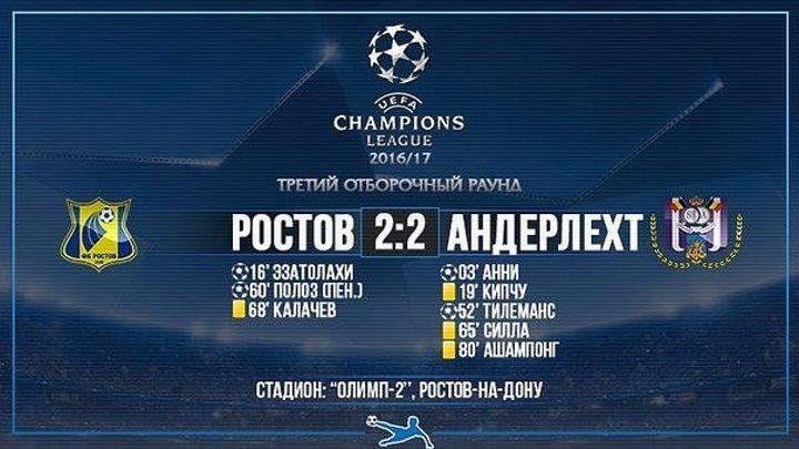 Ростов 2-2 Андерлехт I Лига Чемпионов 2015-16 I 3-й кв.раунд I 1-й матч I Обзор матча. HD