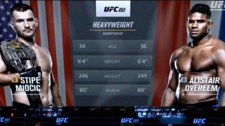 Стипе Миочич vs. Алистар Оверим. Чемпионский бой. UFC 203