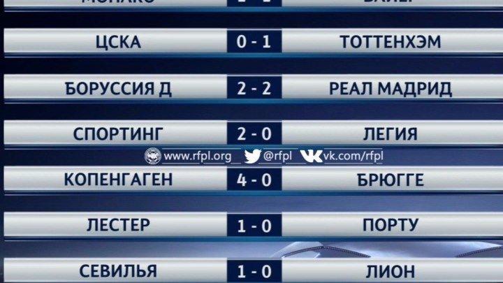 Обзор матчей Футбол. Лига чемпионов. 2-й тур (27 сентября 2016)