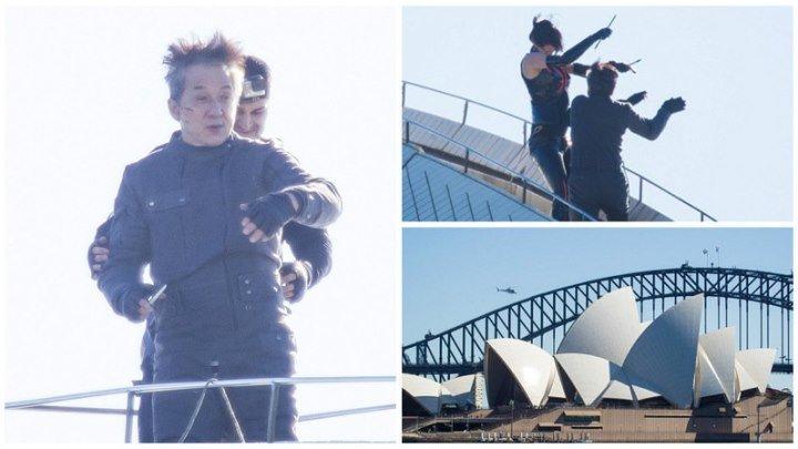 """Съемки фильма """"Кровотачащая сталь"""" на крыше Сиднейского оперного театра"""