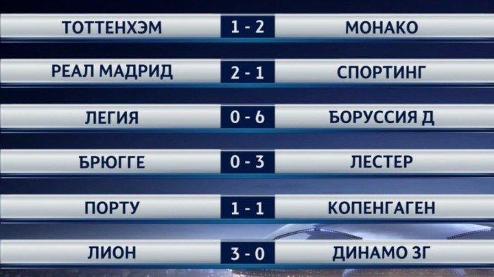 Обзор матчей Футбол. Лига чемпионов. 1-й тур (14 сентября 2016)