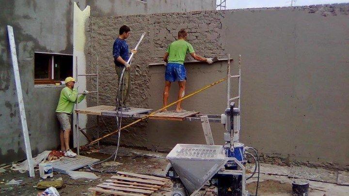 Механизированная штукатурка стен. Робот штукатурит стены.
