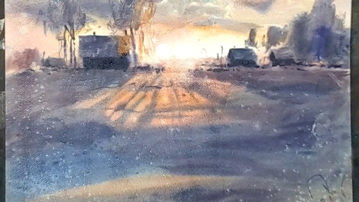 Зимний пейзаж, мастер класс, по мокрому. Д.В. Петруленков