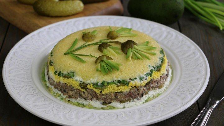 Слоеный рыбный салат 'Водолей'