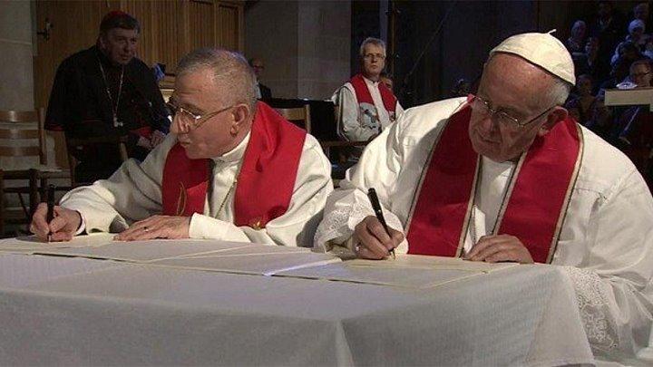 Визит папы в Швецию. Эндрю и Хиллари Энрикес