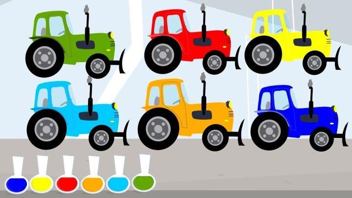 Синий трактор . Учим цвета на русском и английском Мультик про трактор .