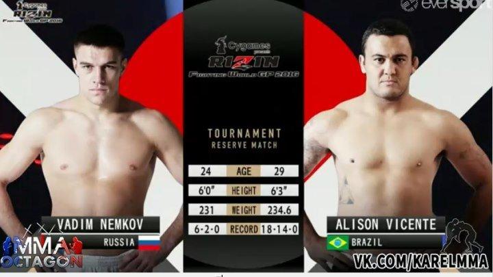Вадим Немков vs. Алисон Висенте. Rizin 3. FW GP 2016: 2nd Round