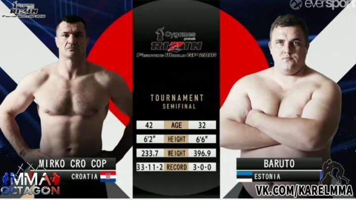 Мирко Крокоп vs. Баруто. Rizin FW GP2016: Final Round