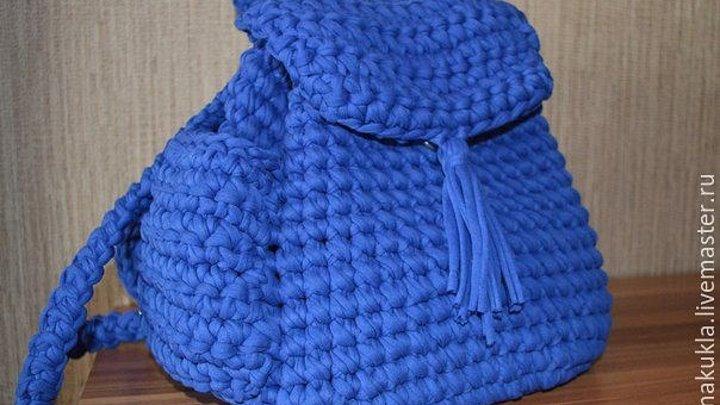 рюкзак из трикотажной пряжи вязание крючком Backpack Of Knitting Yarn Crochet