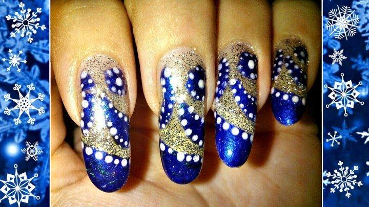Идеи маникюра. Праздничный дизайн ногтей. Рисунки на ногтях с помощью дотса. Синий маникюр.