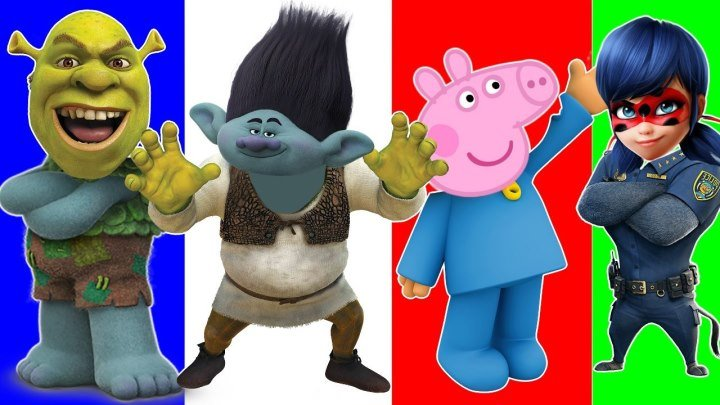 Свинка Пеппа новые герои в масках Троли Шрек Wrong Heads Peppa