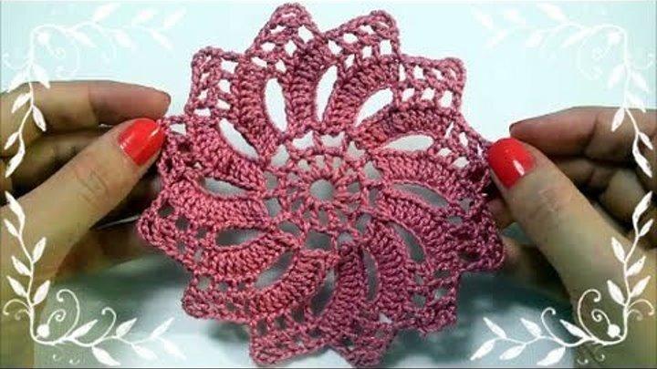 Вязание крючком мотива. Мотив крючком. Очень красивый мотив-цветок.