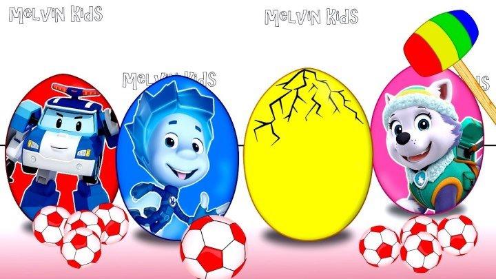 Яйца с сюрпризом . Герои в масках ,Пони,Фиксики . Учим цвета .Learn colors with surprise eggs