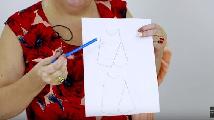 Часть 1 Как сшить летний двухслойный топ с запахом своими руками Моделирование майки или блузки