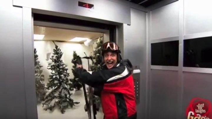 Прикол в лифте с лыжами