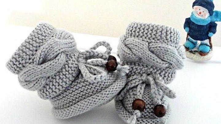 пинетки с поперечной косой жгутом вязание спицами