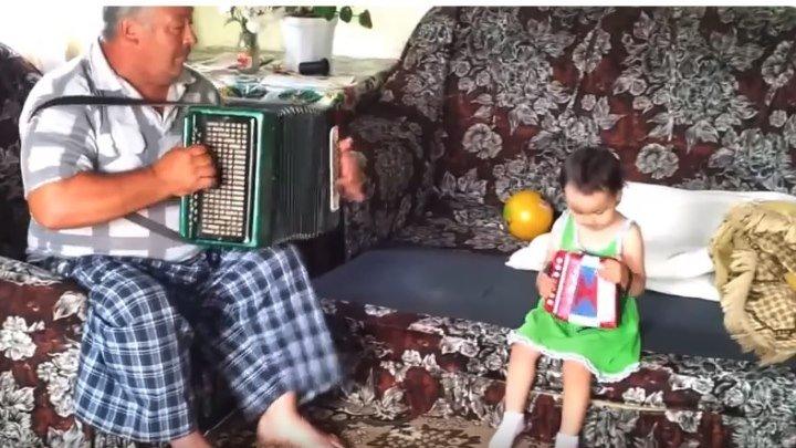 Дедушка и внучка играют на гармошке