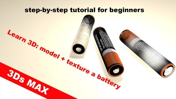 my 3d modeling tutorial - 3d modeling, texturing a battery in 3d from scratch(step-by-step)