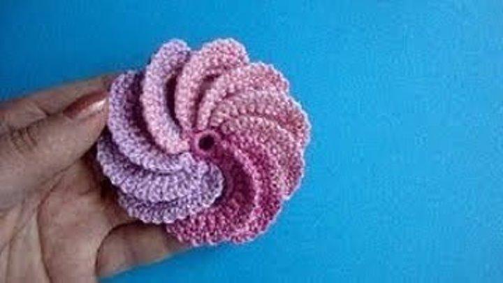 Спиральный цветок Вязание крючком Урок