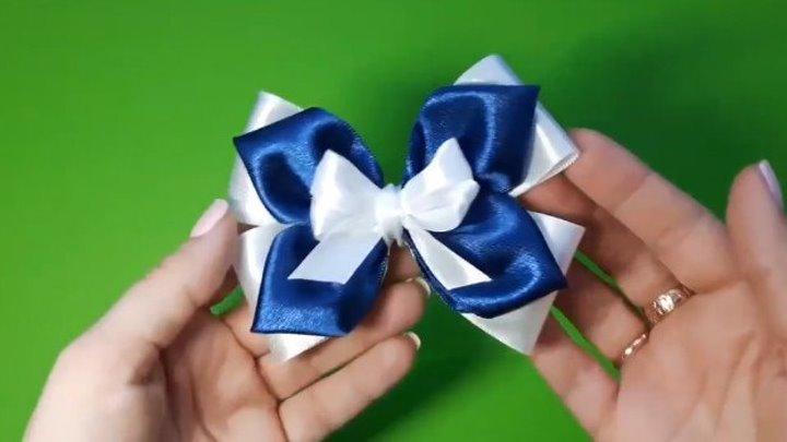 Бантики из атласных лент.Beautiful bow of satin ribbons