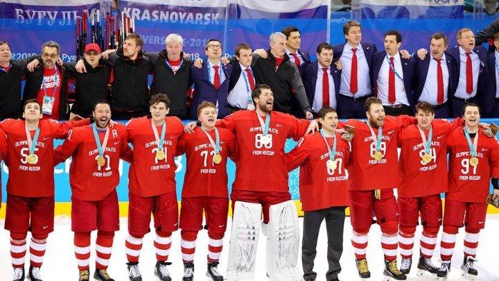 Гимн России поют Хоккеисты и Болельщики ОЛИМПИАДА 2018 Россия - Германия