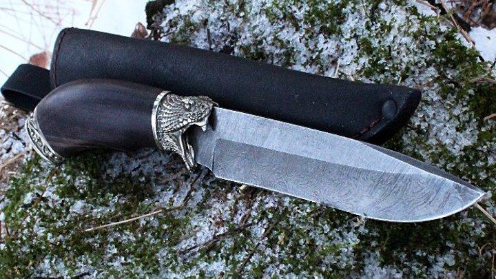 """Охотничий нож. КОВАНЫЙ НОЖ """"КОБРА"""" из дамасской стали с художественным литьем из мельхиора."""