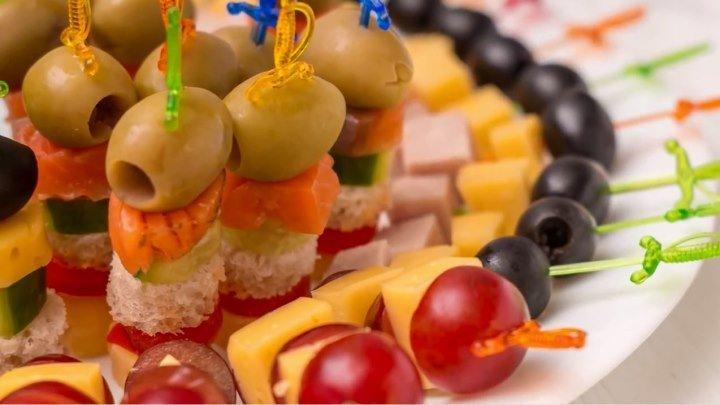 5 видов канапе на праздничный стол. Мини бутерброды на шпажках.