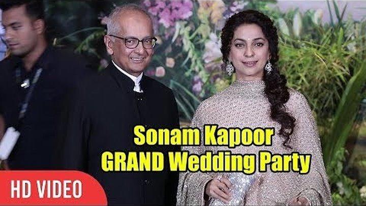 Джухи Чавла с мужем на свадебном приеме Сонам Капур и Ананда Ахуджа