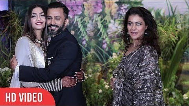 Каджол и Маниш Мальхотра на свадебном приеме Сонам Капур и Ананда Ахуджа