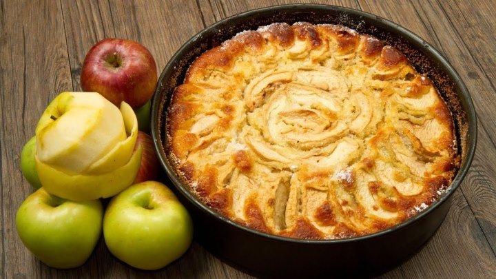 Пышная вкусная шарлотка с яблоками в духовке.